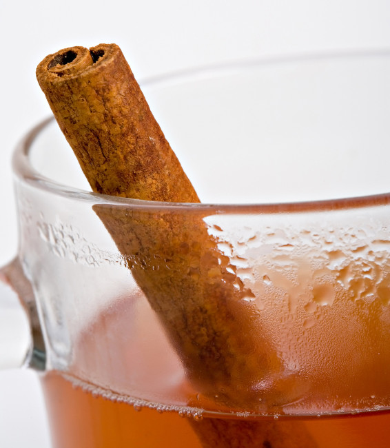 Close up of glass of hot apple cider with cinnamon stick