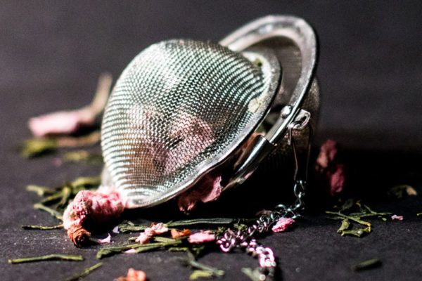 teaware, infuser ball, strainer, spoon, tin, cannister